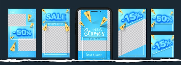 Awesome stories set for social media with convex sale word and golden cones for new post.