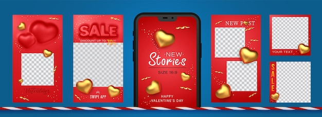 Awesome stories set for social media with convex sale word and golden hearts for new post