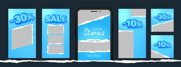 Awesome stories set for social media with convex sale word for new post.