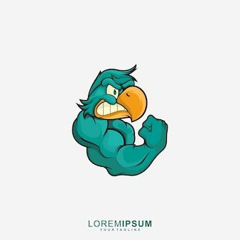 Удивительный логотип талисмана strong bird premium