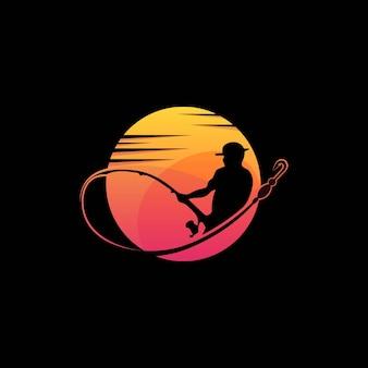 Удивительный закат рыболов человек премиум логотип вектор