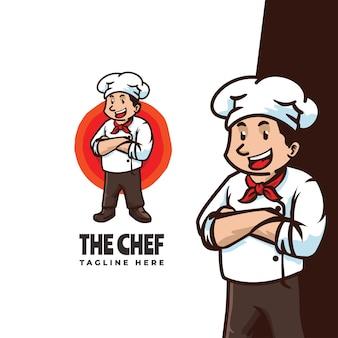 Удивительный шаблон логотипа мультфильма талисмана шеф-повара, подходящий для талисмана ресторана