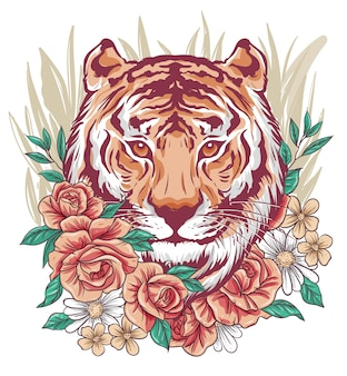 Awesome tiger face mixed with flowers
