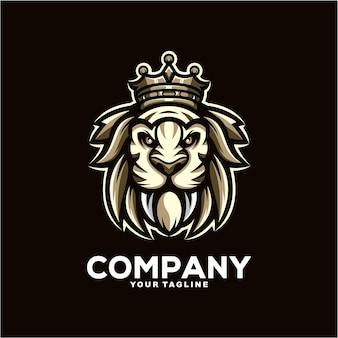 멋진 타이거 킹 마스코트 로고 디자인 일러스트 레이션
