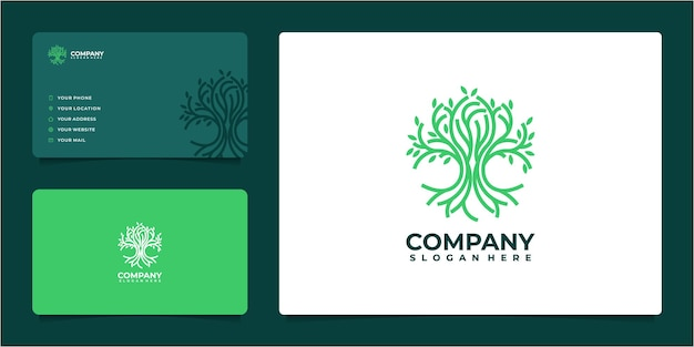 Awesome tree logo idea in line art style