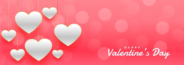Awesome valentines day pink bokeh banner