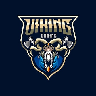 Awesome viking esports logo illustration