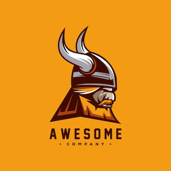 Awesome viking logo design vector