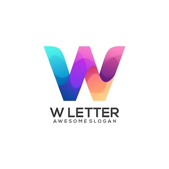 Awesome w letter logo colorful