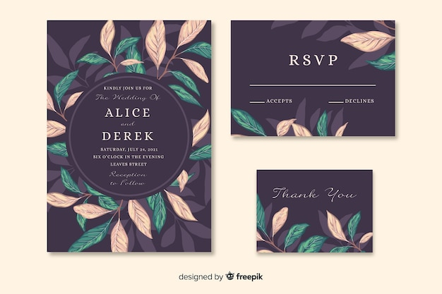 Awesome wedding invitation with artistic painted leaves