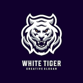 Awesome white tiger head logo template