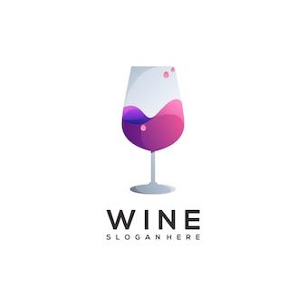 素晴らしいワインのロゴのカラフルなグラデーション