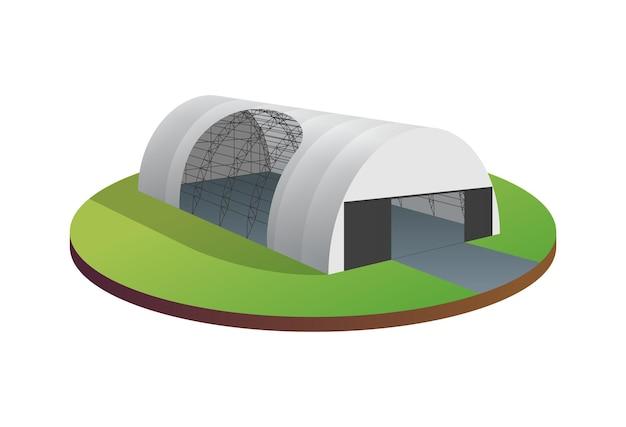 Тент тент палатка временный склад выставка туннельный зал ангар для самолетов Premium векторы