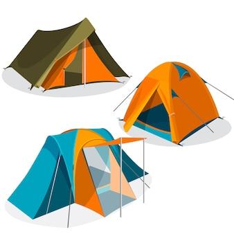 白い背景で隔離の日除けのテント。観光キャンプテントアイコンコレクションのリアルなイラスト。緑、青、黄色の三角形とドームのデザインのハイキングパビリオン。