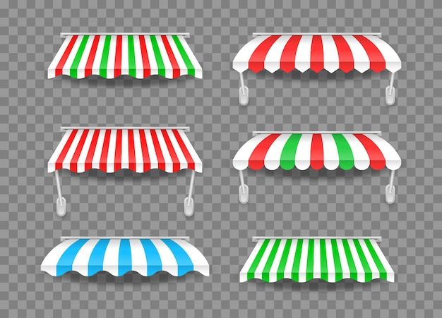 Awnings of different shapes with shadows. striped colorful awnings for shop.