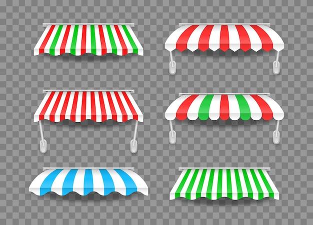 그림자가있는 다른 모양의 천막. 상점을위한 줄무늬 다채로운 차양.