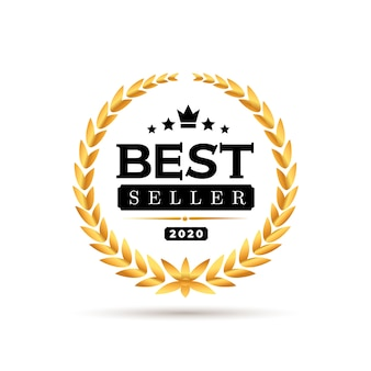 Awords best seller badge logo design.