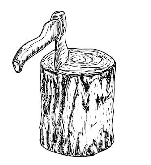 グラフィックスタイルの木の切り株のイラストの木こりの斧木製デッキの木こりの斧のスケッチ