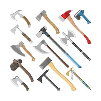 建設や古代のツールが白い背景で隔離の鋭い刃を持つ斧の木製ハンドルイラストセットで斧金属斧機器