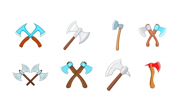 Axe element set. cartoon set of axe vector elements
