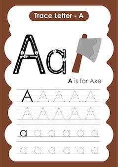 子供のための練習ワークシートを書いたり描いたりする斧トレースライン