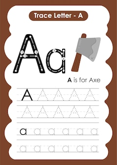 Axe trace lines writing and drawing practice worksheet for kids