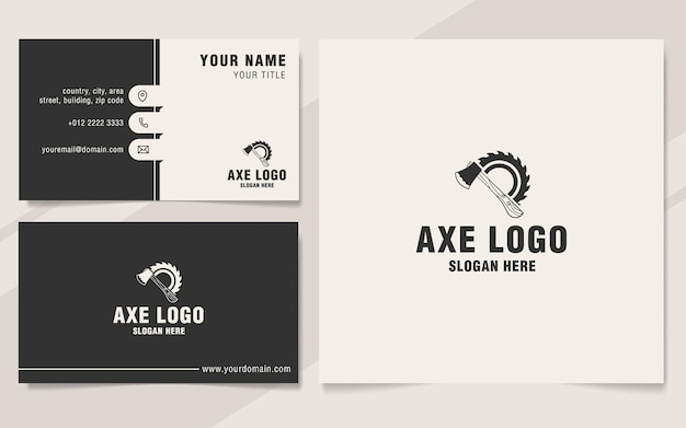 Axe with circular saw logo template on monogram style