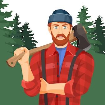 緑の森に木製の斧を持つ斧。木工や木こりの要素を持つ製材業者。帽子と赤いシャツのウッドカッターハンドルに金属の斧を持つ男のリアルなイラスト