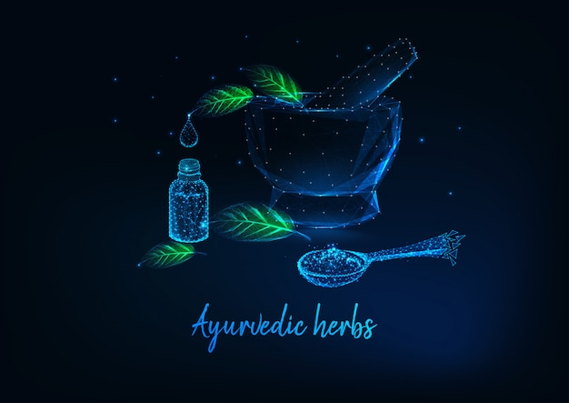 Ayurvedic herbs concept with mortar