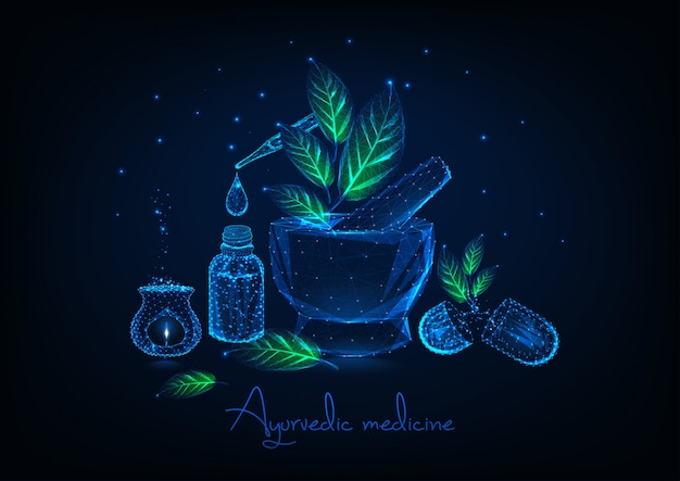 Ayurvedic medicine concept with mortar, leaves, essential oil, herbal pills and aromalamp.