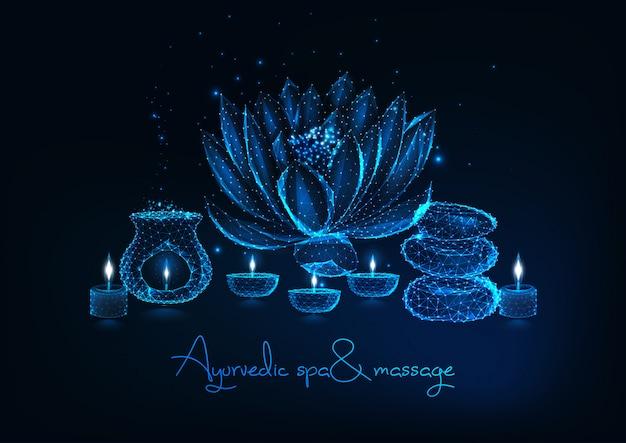 アーユルヴェーダスパ、蓮の花、バランスの取れた岩、アロマランプ、香りのよいキャンドルを使ったマッサージ。 Premiumベクター