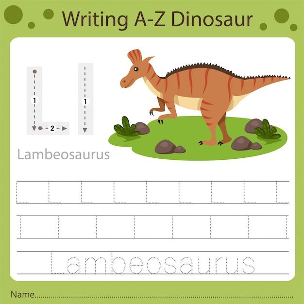 子供のためのワークシート、az dinosaur lを書く