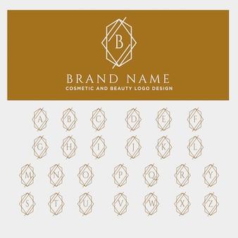 手紙az美容化粧品ラインアートのロゴのテンプレート