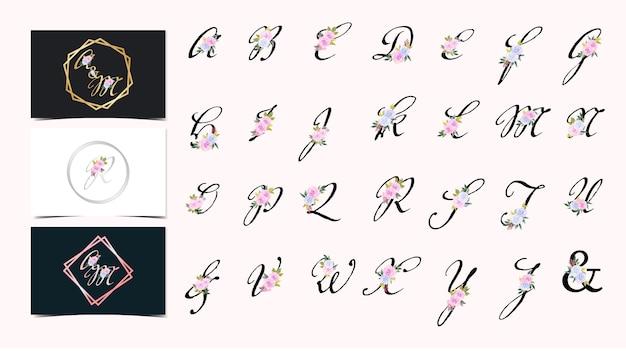 美しい花の花束と花アルファベットazコレクションのセット