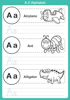 塗り絵の漫画語彙とアルファベットのaz運動