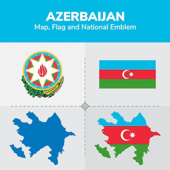 Azerbaijan map flag and national emblem