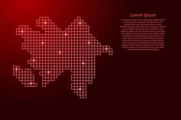 赤いモザイク構造の正方形と輝く星からのアゼルバイジャンの地図のシルエット。ベクトルイラスト。