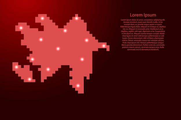 Силуэт карты азербайджана из красных квадратных пикселей и светящихся звезд. векторная иллюстрация.