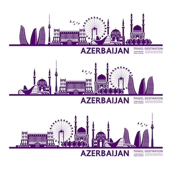 Azerbaijan travel destination   illustration.