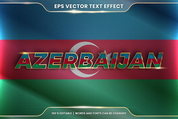 Azerbaijan with its national country flag, editable text effect style with gradient gold color concept