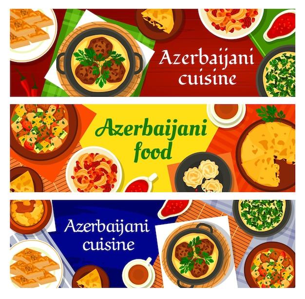 アゼルバイジャン料理のクルミバクラヴァ、シャーピラフ、チキンコーネル、シチューovrishta、ザクロソースナルシャラブ。フィッシュパイキャタ、ラム野菜シチューチョバンゴヴルマ、ラムひよこ豆シチューピティ