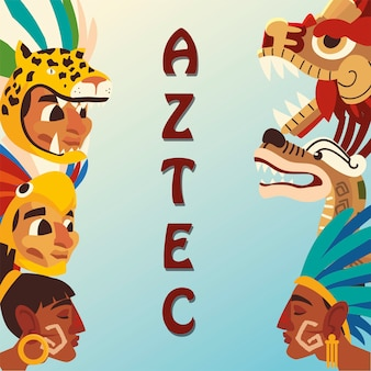 Aztec character people snake pyramid weapon native culture icons illustration