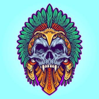 Ацтекская индийская татуировка черепа смерти векторные иллюстрации для вашей работы логотип, футболка с товарами-талисманами, наклейки и дизайн этикеток, плакаты, поздравительные открытки, рекламные компании или бренды.