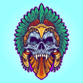 Aztec indian death skull tattoo vector illustrations for your work logo, mascot merchandise t-shirt, stickers and label designs, poster, greeting cards advertising business company or brands.