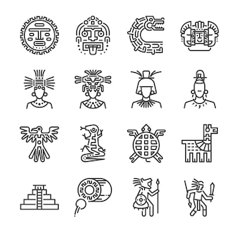 Aztec line icon set.