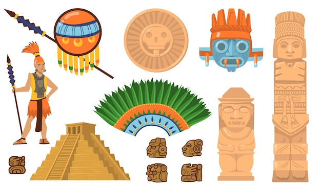 Aztec and maya symbols set. ancient pyramid, inca warrior, ethnic masks, gods and idols artifacts. flat vector illustrations for mexican culture, traditional decorations concept