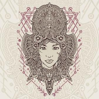 Aztec mistress lady monolines illustration