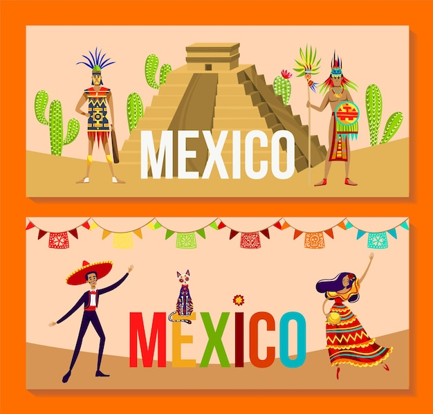Aztec people and mexico culture set vector illustration tribal warrior character stand near pyramid man in sombrero woman dance