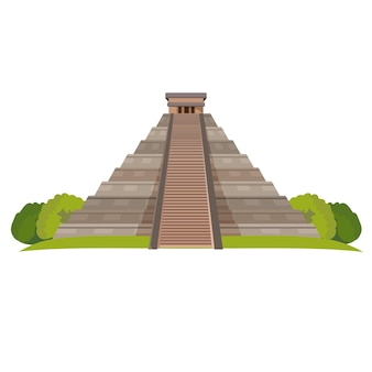 Aztec pyramid with green bushes at base isolated on white. realistic  illustration of mayan pyramid landmark in central mexico.temple of kukulkan or el castillo pyramid in chichen itza