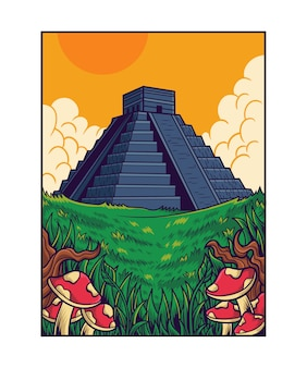 Aztec pyramids lanscape illustration